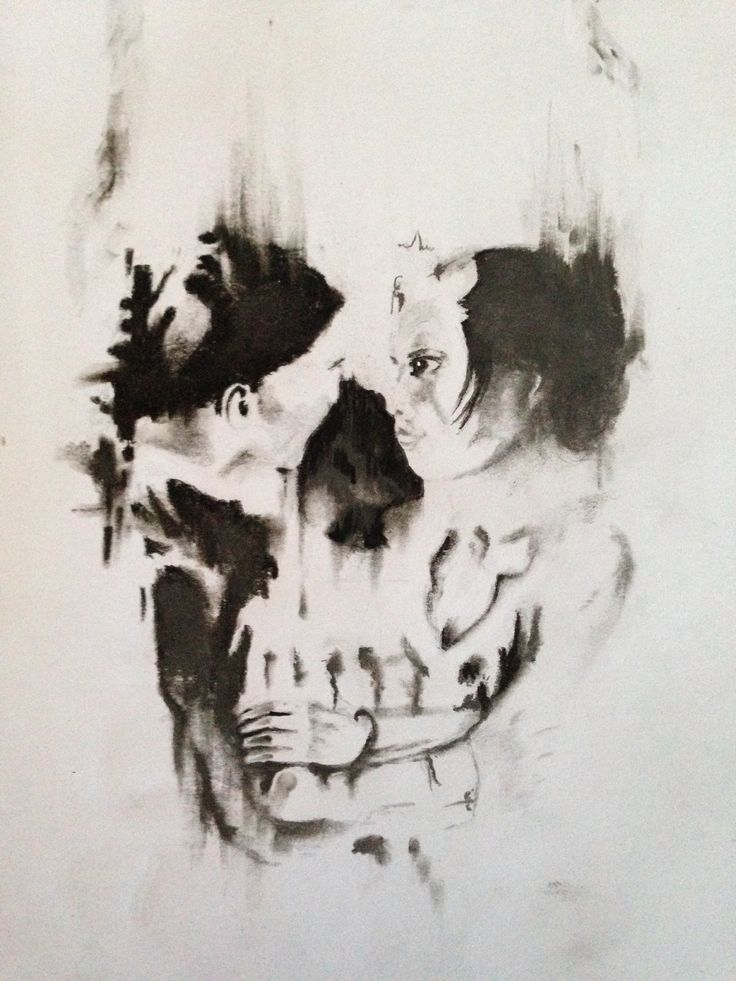 Charcoal And Pencil Sketch Of Skull Couple Illusion Sketches