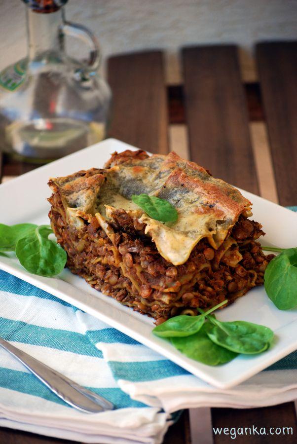 Kuchnia wegAnki: Szpinakowa lasagne z zieloną soczewicą i beszamele...