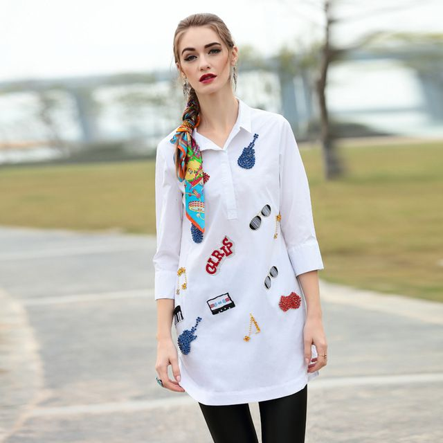 high quality 2016 spring new runway shirt women lapel beading white shirt D0315 US $53.20 /piece click the link to buy http://goo.gl/YJxPC6