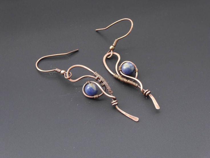 Sodalite earrings, copper earrings, wire jewellery, wire wrapped jewelry, gemstone earrings, blue earrings, handmade jewellery by TroublesDesigns on Etsy https://www.etsy.com/listing/533636232/sodalite-earrings-copper-earrings-wire #wirewrappedjewelry