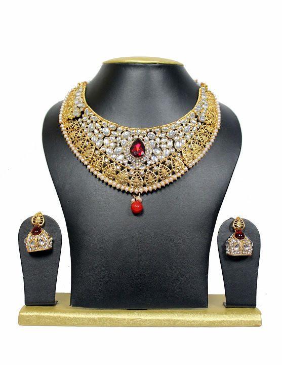 Indian Bollywood Style Designer Gold Plated Red Ruby Indian Jewelry Set #uniquegemstone17 #Chokkar
