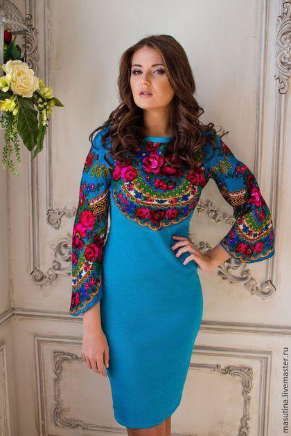"""Купить Платье """"Русское поле"""" - разноцветный, цветочный, нарядное платье, платье из платков, платье из платка"""