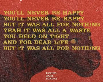 Taking Back Sunday, TBS, Better Homes and Gardens, Happiness Is, Taking Back Sunday Lyrics