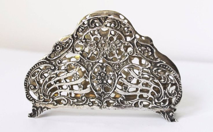 Solid Silver 835 vintage letter/serviette holder -Ornate - Repoussé - 71 g by semelesparlour on Etsy