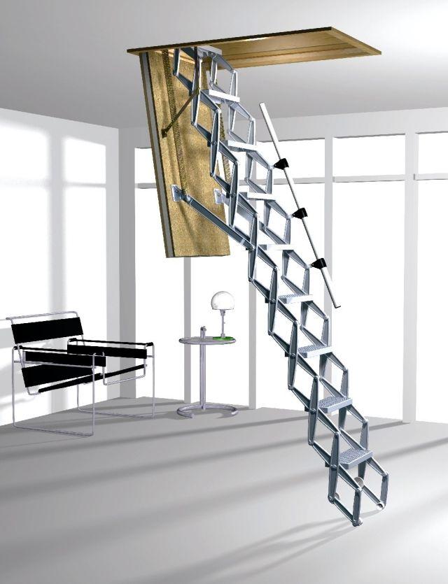 Un Escalier Grenier Escamotable Metallique Avec Une Rampe Escalier Escamotable Escalier Amenagement Dressing