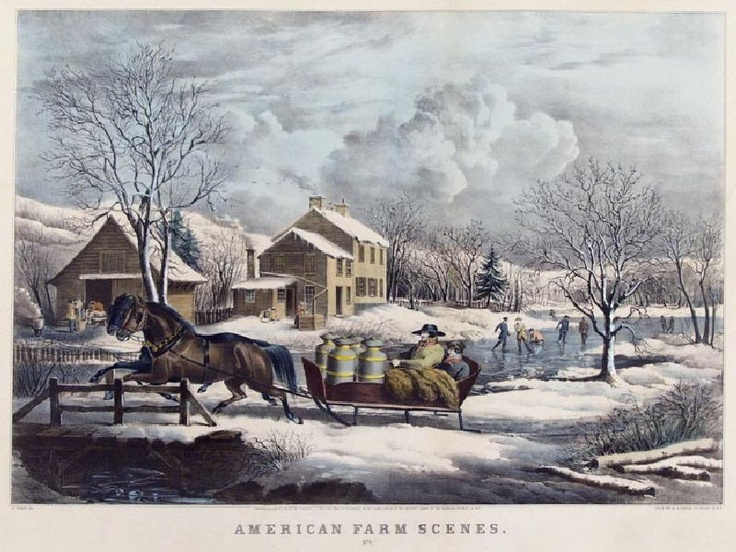 Old Farm Scene Christmas Currier Ives Country Art