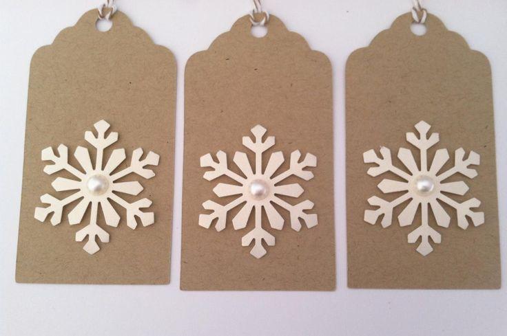 Christmas Gift Tags, Holiday Gift Tags, Kraft Snowflake