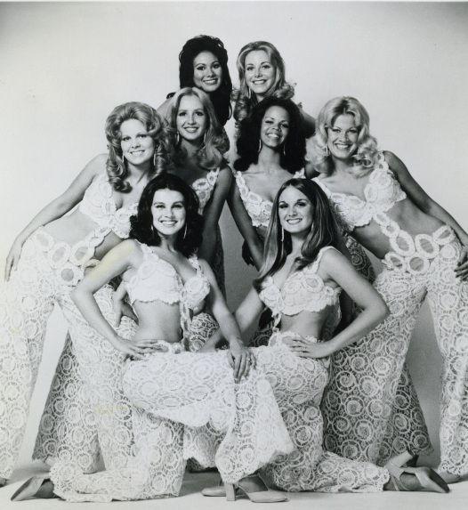 The Golddiggers - 1973, from left to right: Patti Pivarnik Gribow, Linda Alberici Eichberg, Robin Hoctor-Horneff, Maria Lauren. Colleen Kincaid Jackson, Deborah Pratt, Susan Buckner, Lee Nolting