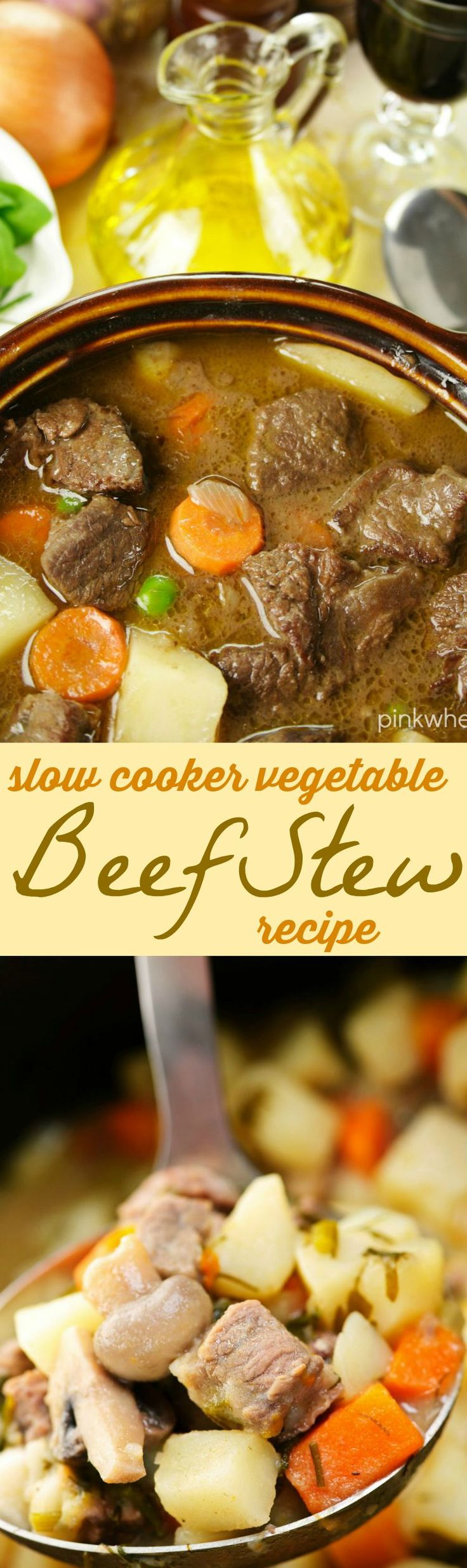 One of my favorite recipes, this Slow Cooker Vegetable Beef Stew is a delicious and hearty Winter Soup.