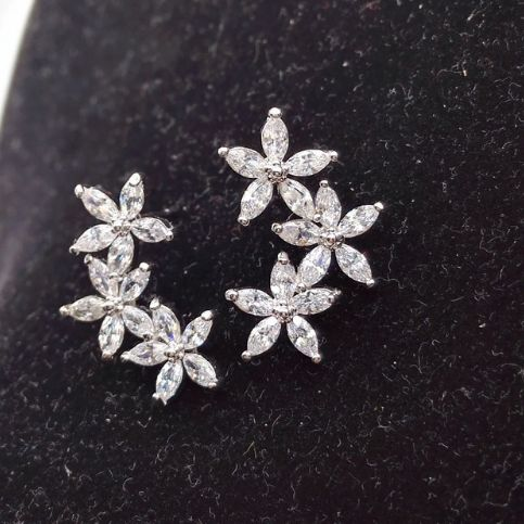 Be special: Fashion Style Three Flower Stud Earrings For Women...