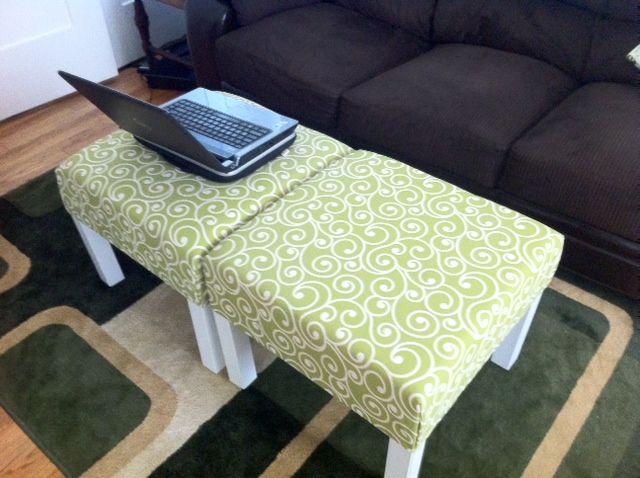 "IKEA Hackers: furniture Materials: Lack side table, high density foam (21 5/8"" x 21 5/8"" x 4""), upholstery fabric (72"" x 72""), craft glue, staple gun, jigsaw"