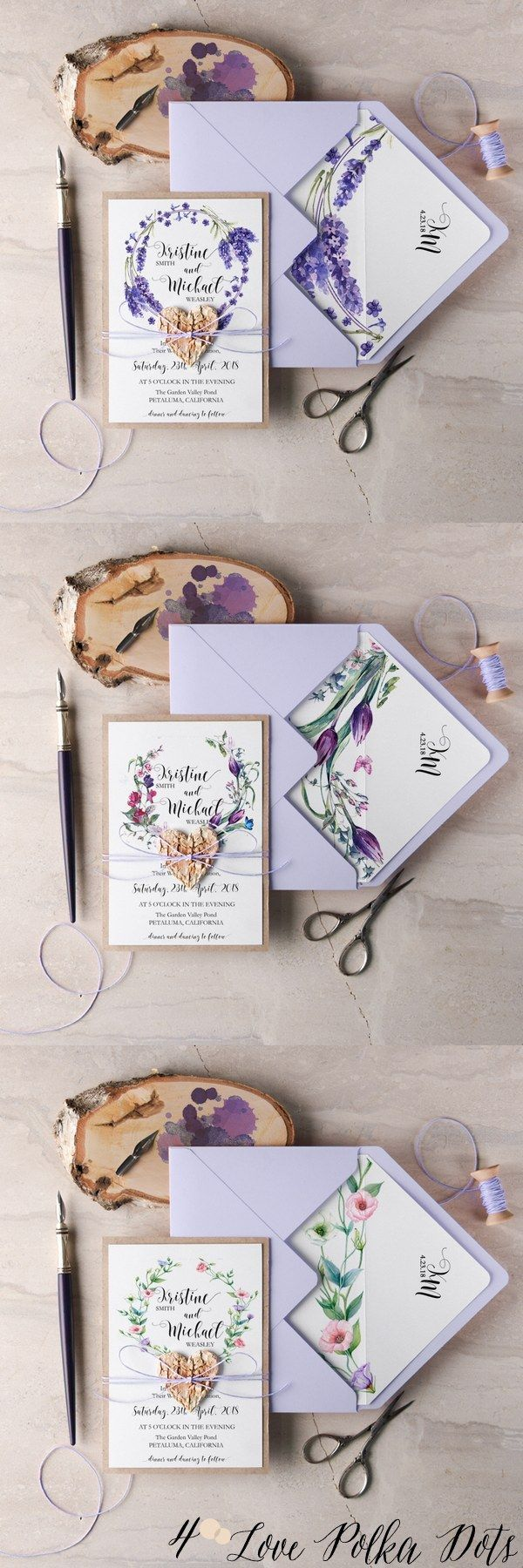 Purple watercolor wedding invitations #purplewedding #floralwedding #lilacwedding