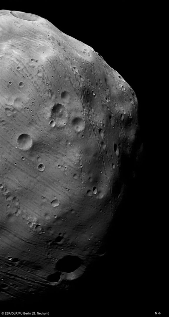Mars Moon Phobos Likely Forged by Catastrophic BlastCredit: ESA/DLR/FU Berlin (G. Neukum)The ESA spacecraft Mars Express took this image of Phobos on March 7, 2010. This image has been enhanced for seeing features in the less-illuminated part of the moon.