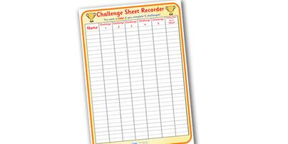 Challenge Sheet Recorder - challenge record, challenge poster, challenge sheet, challenge record sheet, challenge table poster, #Behaviour_Managment #Challenge_Sheet_recorder