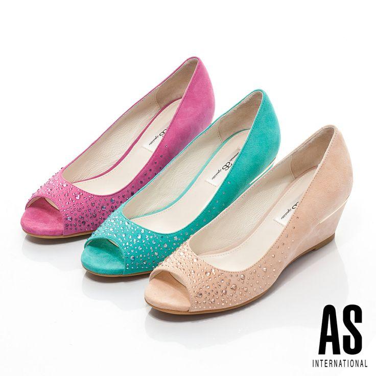 AS 羊麂皮水鑽魚口楔形鞋-紫 - Yahoo!奇摩購物中心