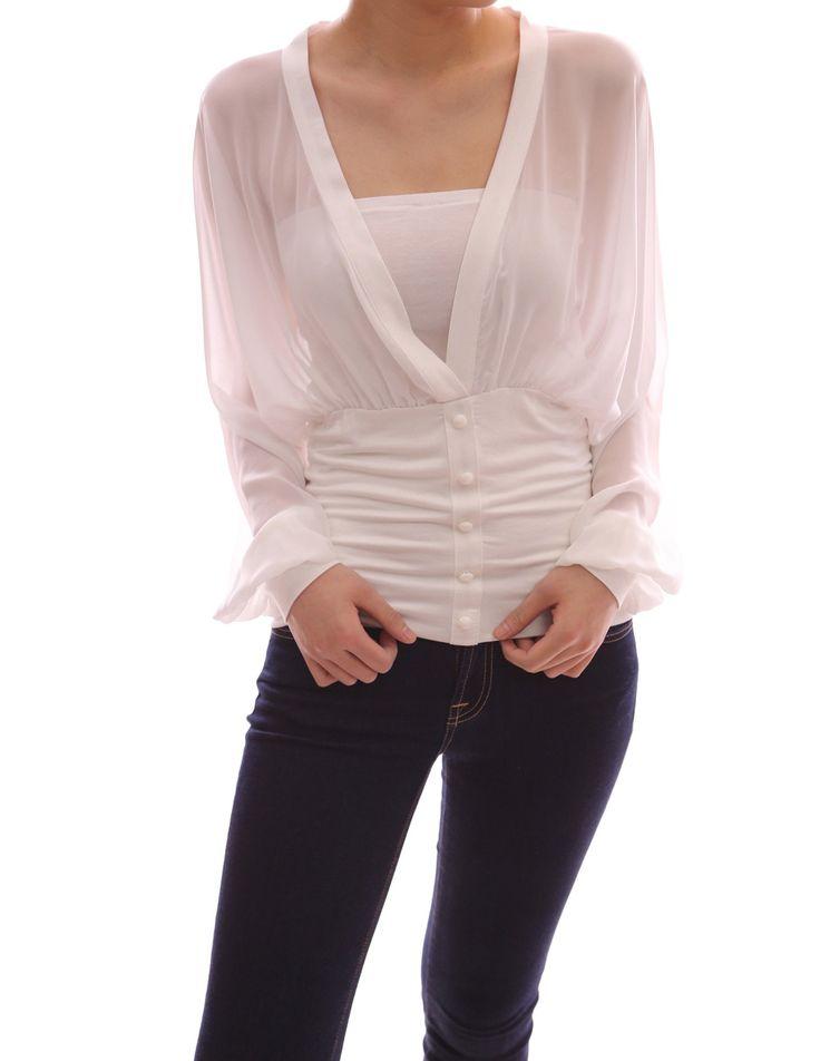 Patty Women's V Neck Semi Sheer Chiffon Bishop Long Sleeve Pullover Blouse at Amazon Women's Clothing store:
