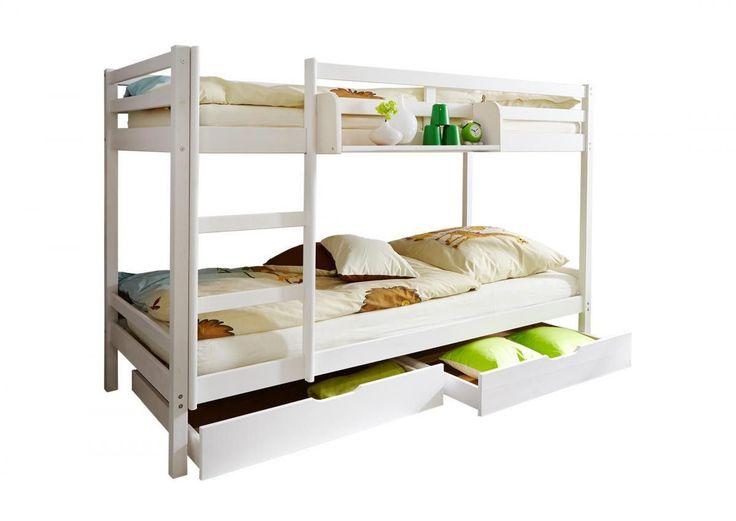 ticaa etagenbett rene kiefer massiv wei jetzt bestellen unter - Einfache Hausgemachte Etagenbetten
