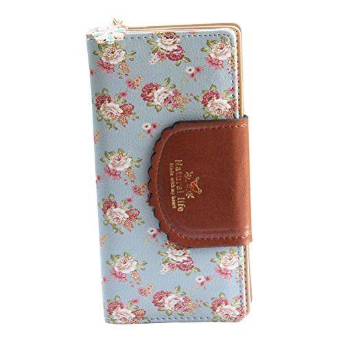 ba6c905a6dcf9 Süß Geldbörse Damen Portemonnaie Lang Portmonee aus PU Leder Elegant  Geldbeutel mit Blumen Muster Geldtasche mit