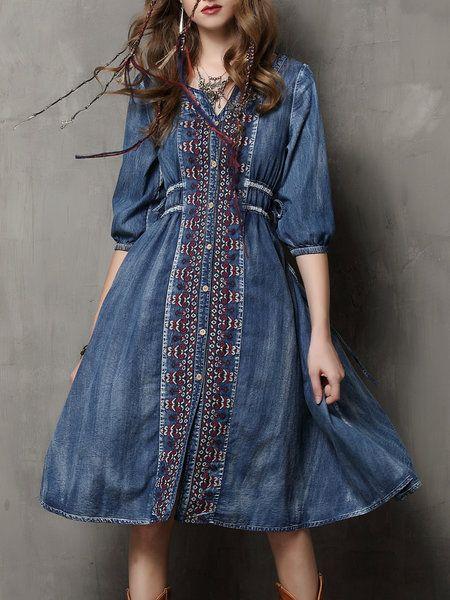 Shop Midi Dresses - Blue Embroidered Denim Resort Tribal Midi Dress online. Discover unique designers fashion at StyleWe.com.