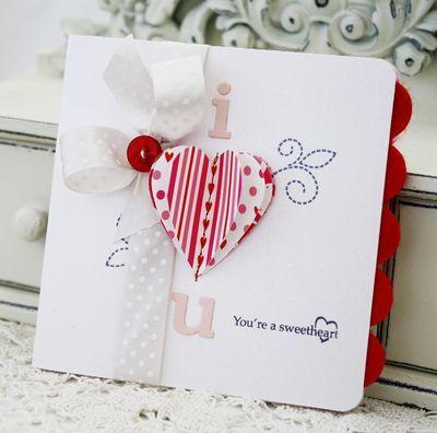 i heart you, handmade valentine's card