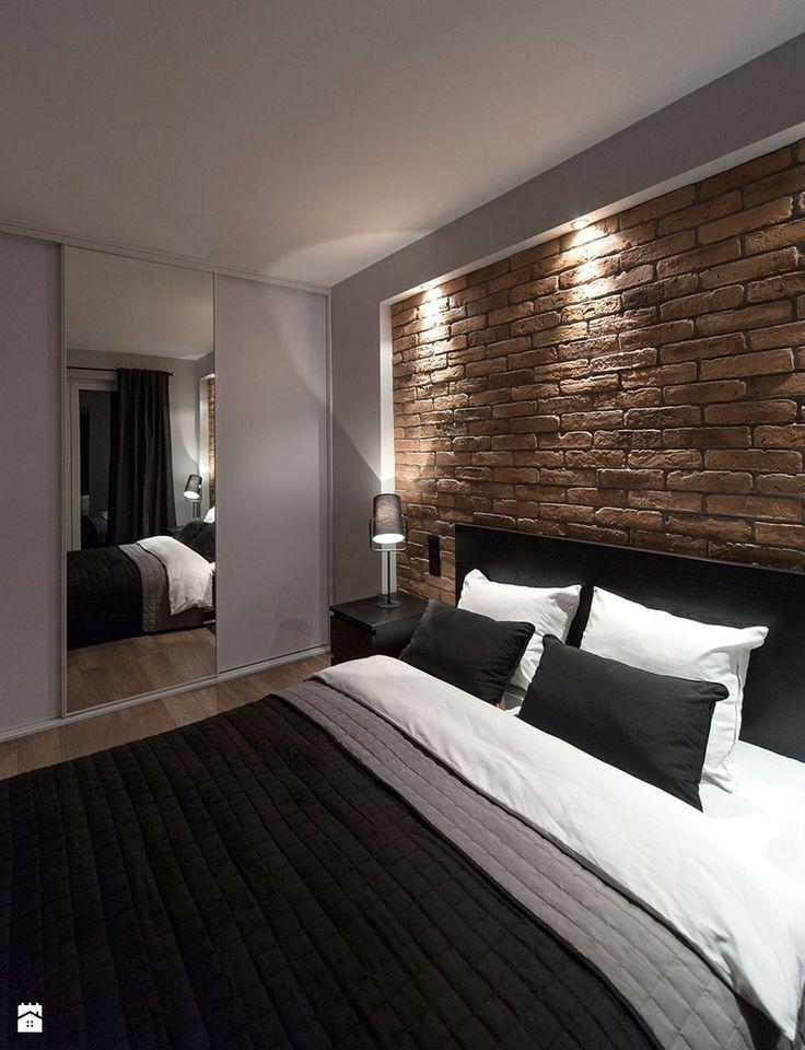 męskie 34m2 - Średnia sypialnia małżeńska, styl nowoczesny - zdjęcie od Pracownia Wielkie Rzeczy