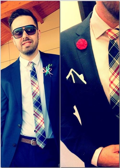 Marek wearing our pocket square and lapel flower. Nice look!