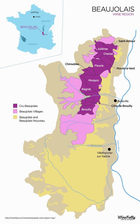 Carte Beaujolais en France, le cépage (type de raisins) de cette région: Gamay.