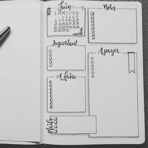 Idée de layout pour le bullet journal