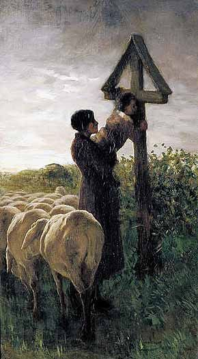 Il bacio alla croce (Kissing the Cross), 1881–1882. Oil on canvas (85.5 x 48 cm) by Giovanni Segantini.