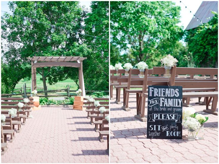 Rustic wedding. Outdoor ceremony site with antique mason jars and baby's breath tied to pews.