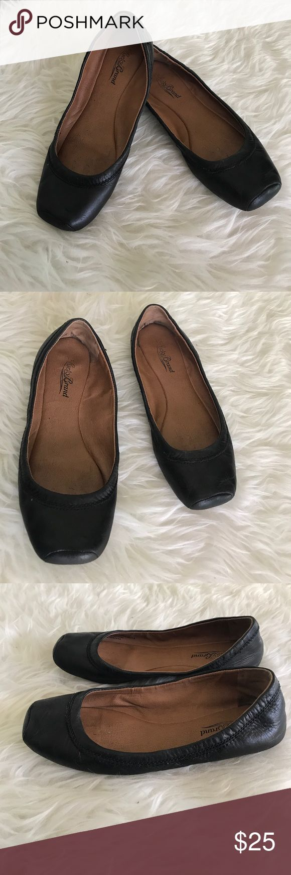 Lucky Brand ballet flats Classic ballet flats by Lucky Brand. Black leather body with square toes. Shows some wear but lots of life left. Dress up or down! Lucky Brand Shoes Flats & Loafers