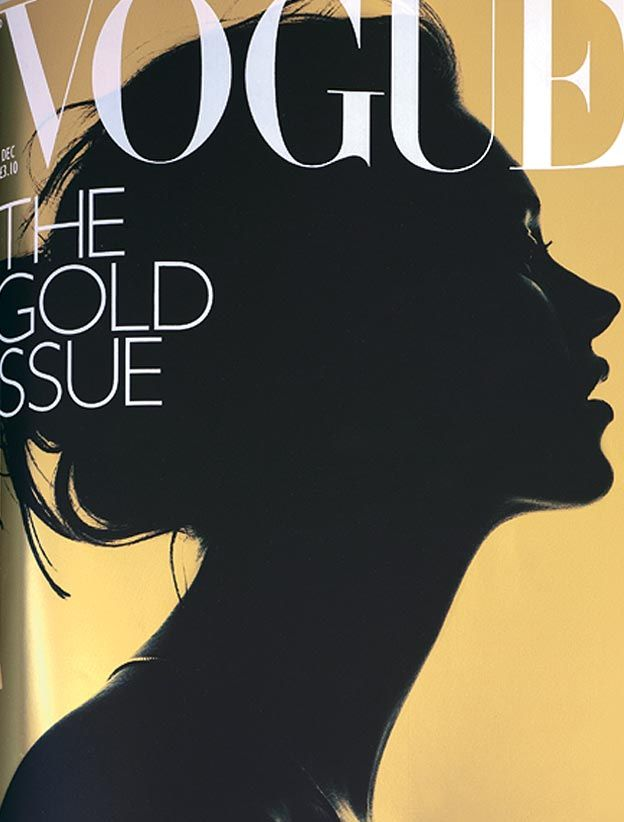 """Iconic simplicity of Nick Knight's profile portrait of Kate Moss for the December 2000 issue of Vogue makes this issue one for the collectors. Alexandra Shulman, who has been editing Vogue since her first issue in April 1992, has become famous for her iconic December issues and """"The Gold Issue"""" is one of the most memorable."""