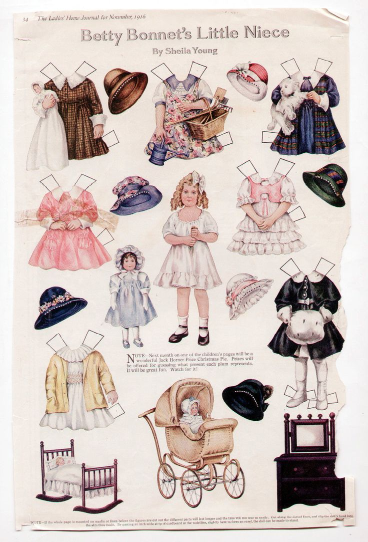 Vintage Betty Bonnet's Little Niece Paper Dolls Page 1916 Sheila Young Uncut | eBay