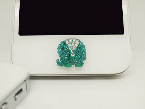 1PC Bling Crystal Blue Elephant iPhone Home Button Sticker Charm for iPhone 4,4s,4g,5,5c Cell Phone Charm Friend Gift on Etsy, $5.28 CAD