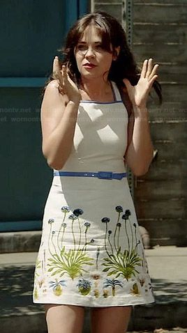 Jess's white floral dress with blue trim on New Girl.  Outfit Details: http://wornontv.net/37160/ #NewGirl