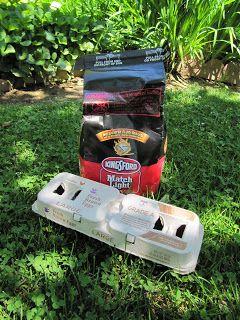 Charcoal in an egg carton fire starter.