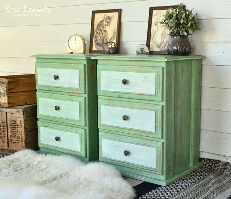 rustic shabby chic country inspired green bedside tables with white panels