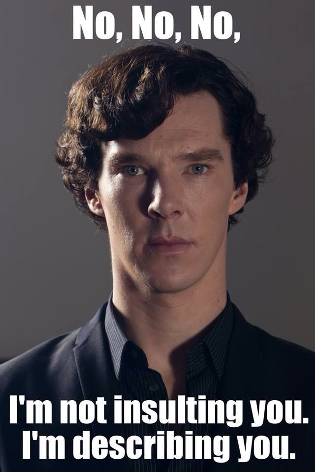 Sherlock: the way his mind works is so ingenious!!! a man who can understand everything about a crime but can not grasp the concept of human interactions and social graces. I love it!!!