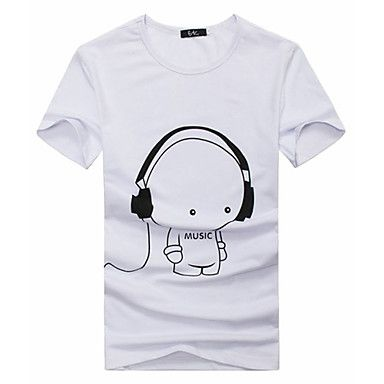 Mens Designer Short Sleeve T-Shirt With Earphones Music Print (3 Colours)
