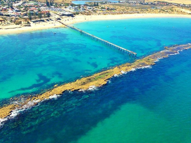 Looking down along Port Noarlunga jetty and reef Photo: Shane Daw on board the Westpac Lifesaver Rescue Helicopter - Adelaide — with Simon Newell.