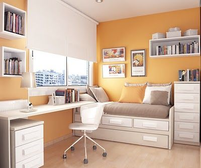 Modern tenage bedroom design orange theme with seat and table simple but elegant