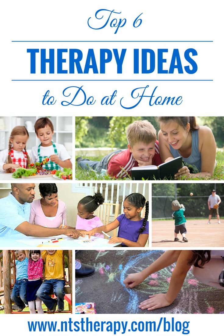 Top 6 Therapy Ideas to Do at Home    Find ideas for occupational therapy, physical therapy, and speech language therapy at home. We hope that parents, therapists, and friends of children with special needs, Autism, Cerebral Palsy, Down Syndrome, and overall developmental delay will find these activities helpful.