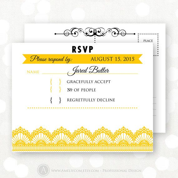 Printable RSVP Card Gold Yellow & White Wedding Reply by AmeliyCom, $7.00 INSTANT DOWNLOAD Printable RSVP Card, Reply Card, Response Card for all occasions - Wedding, Bridal Shower, Bridesmaid, Bitthday, Baby Shower, Holiday Party or Celebration  #18 Gold Yellow & White Response Card - Printable Editable PDF Reply Card for home printing Just print, cut and ready to go!