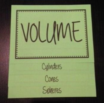 This foldable provides 4 practice problems to teach or review how to calculate the volume of cylinders, cones, and spheres.This is a GREAT item for interactive notebooks.  It may be used to introduce a lesson, as a homework assignment, or review before a quiz or test.A detailed answer key is included.You may also be interested in some of my foldable bundles:The Ultimate 7th GRADE MATH Foldable & Activity BundleThe Ultimate PRE-ALGEBRA Foldable & Activity BundleThe Ultimate PRE-ALGEBRA...