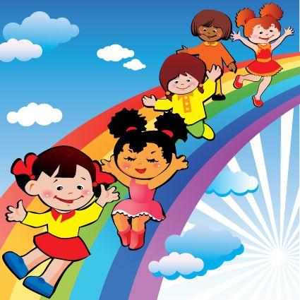 Children with rainbow design vector 03