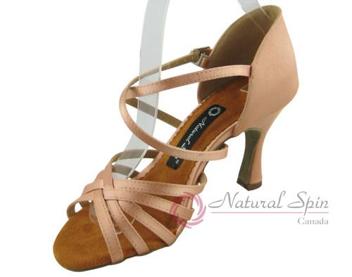 Natural Spin Ladies Dance Shoes (Classic): Latin Shoes(Open Toe) M1101-02_FleshC
