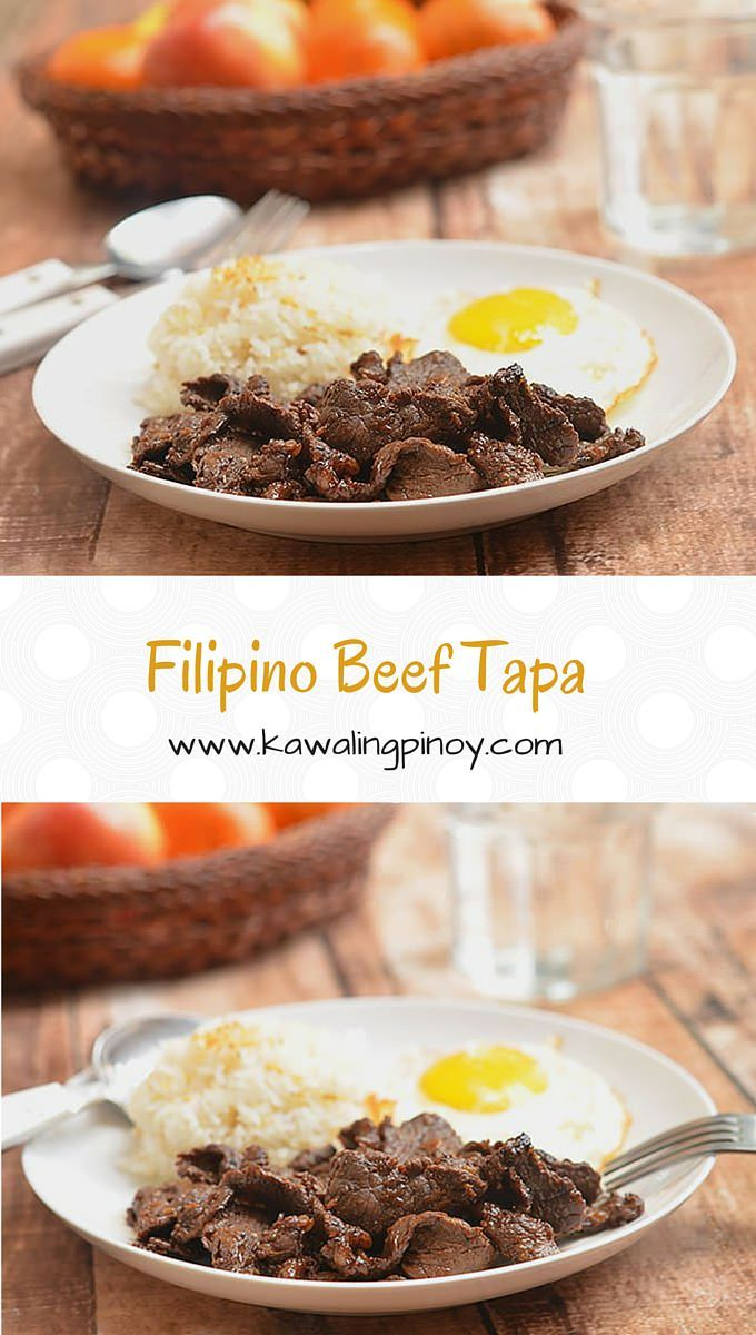 Filipino Beef Tapa are thinly-sliced sirloin cured in calamansi, soy sauce, sugar and minced garlic; served with garlic fried rice and sunny side up eggs, it's a delicious way to start the day.