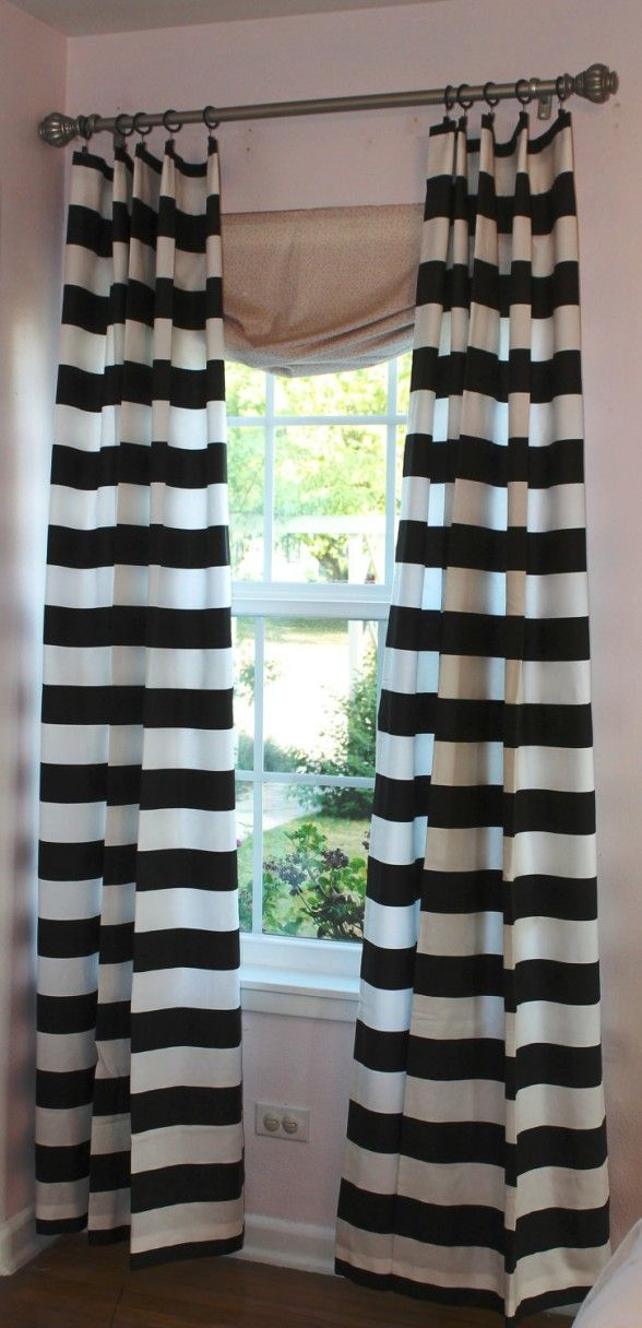 Black And White Cabana Stripe Drapes | Horizontal Stripe Curtain 3 Black