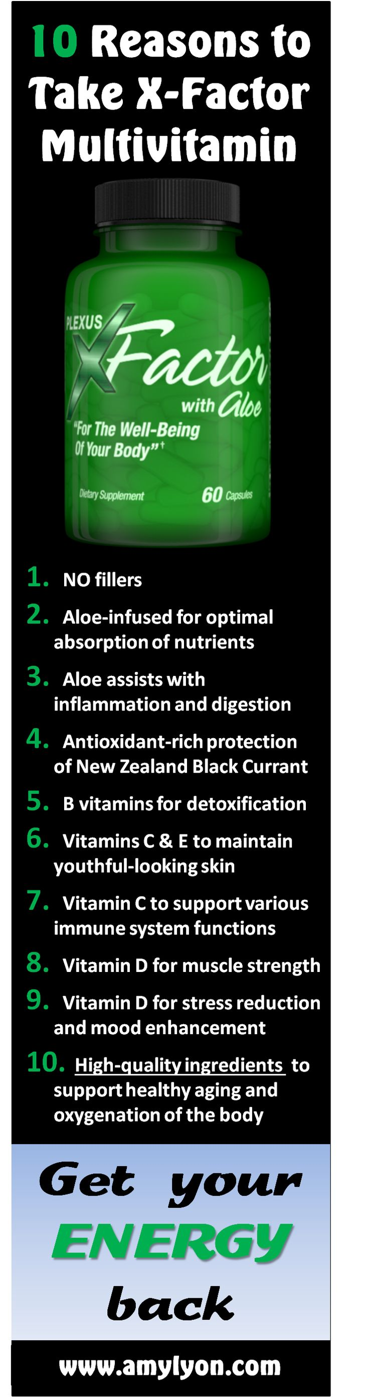 Plexus XFactor is a turbocharged daily multivitamin and antioxidant. 100% natural and no fillers! View the ingredient label at http://www.amylyon.myplexusproducts.com/products/plexus-xfactor I LOVE MY XFACTOR ENERGY!
