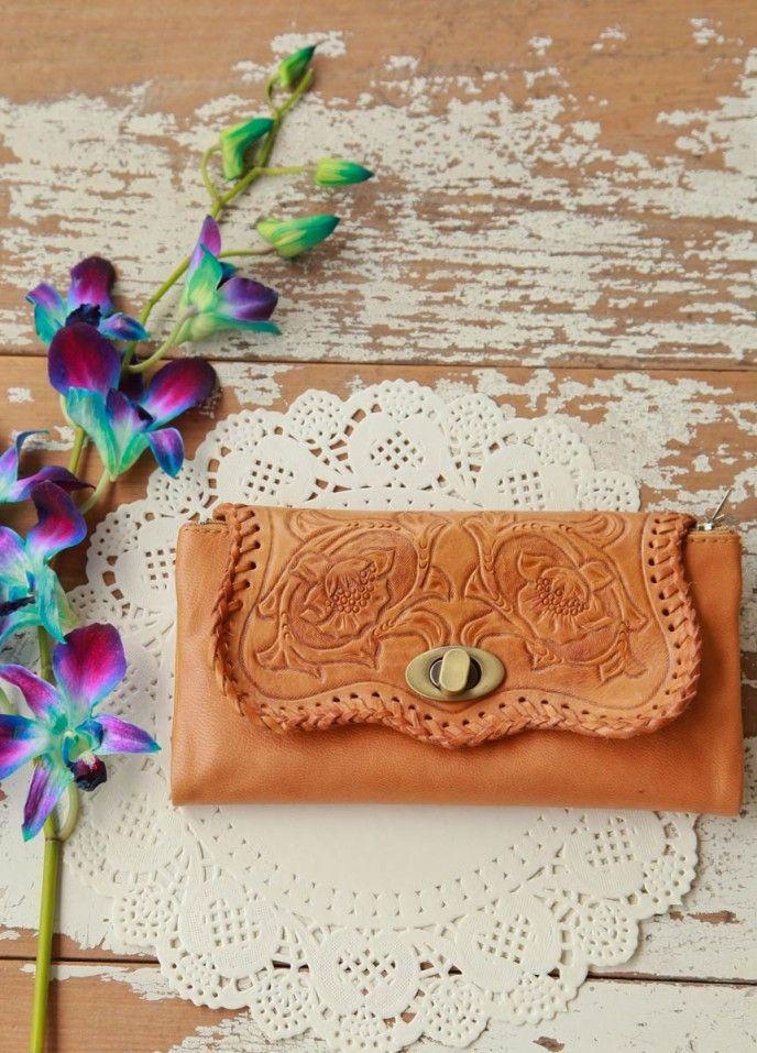 Tan tooled wallet - Renee Loves Frances